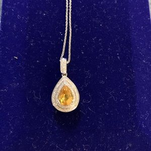 Jewelry - canary sapphire and diamond pendant 14k white gold